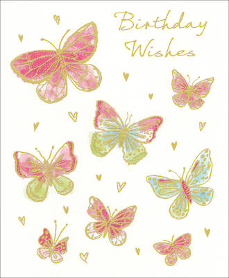 Birthday Card Female Wishes Butterflies