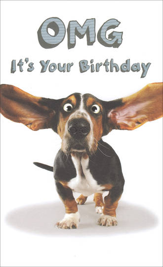 Humorous Birthday Card Dog Omg It's Your Birthday