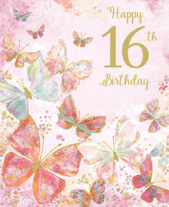 Birthday Age Card 16 Female Butterflies
