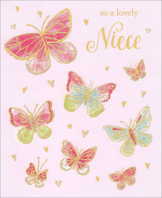 Niece Birthday Card Butterflies