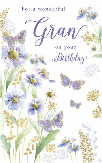 Grandmother Birthday Card Gran Butterflies