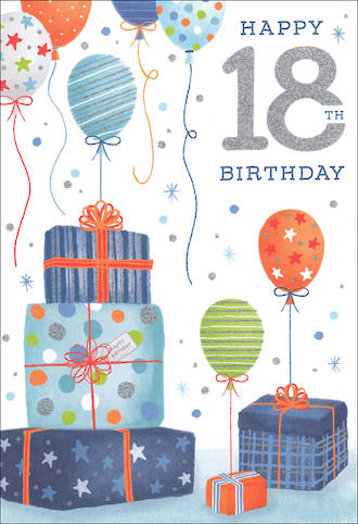 Birthday Age Card 18 Male Presents Balloons