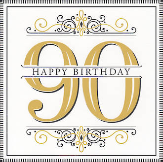 Birthday Age Card 90 Male Square Embossed