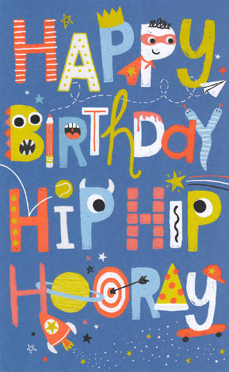 Kid's Birthday Card Hip Hip Hoorah