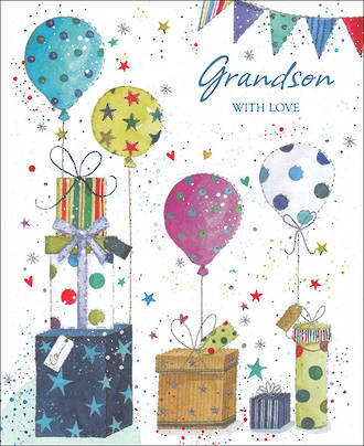 Grandson Birthday Card Balloons