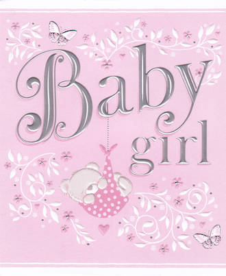 Baby Card Girl Pink Silver Text