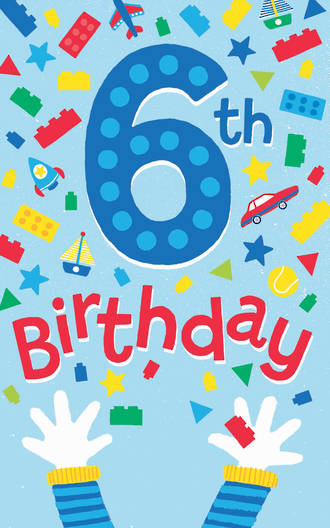 Birthday Age Card 6 Boy Toys