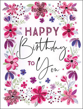 Jumbo Card All 4 One Female Birthday Floral