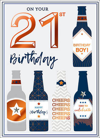 Birthday Age Card 21 Male Copper Script