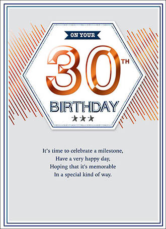 Birthday Age Card 30 Male Copper Script