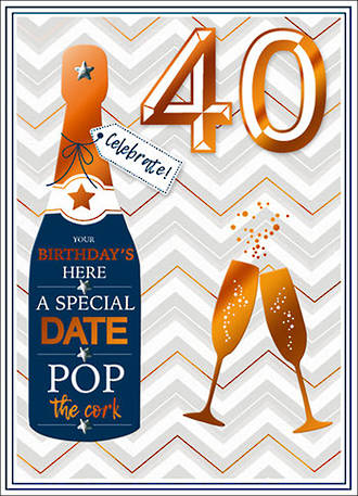 Birthday Age Card 40 Male Copper Script Pop