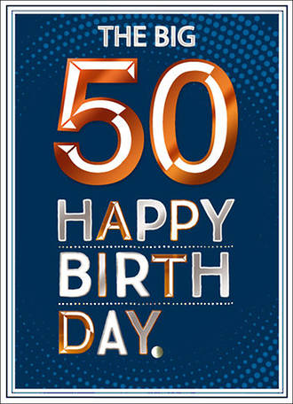 Birthday Age Card 50 Male Copper Script