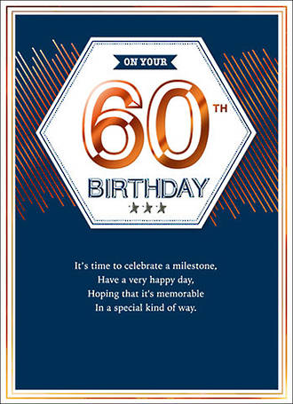 Birthday Age Card 60 Male Copper Script