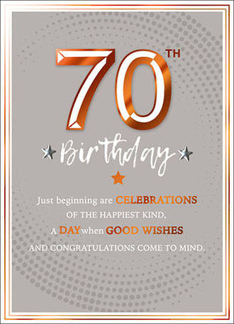 Birthday Age Card 70 Male Copper Script