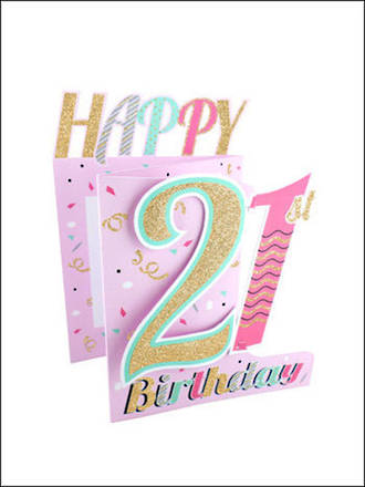 Birthday Age Card 21 Female 3D Cutting Edge