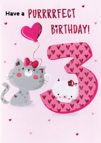 Birthday Age Card 3 Girl Purrfect Birthday