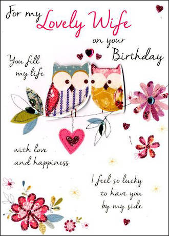 Wife Birthday Card Just to Say Owls