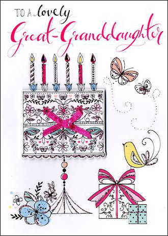 Great Grandaughter Birthday Card Just to Say Cake