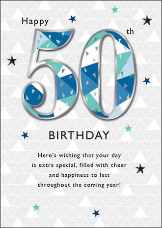 Birthday Age Card 50 Male Just To Say Stars