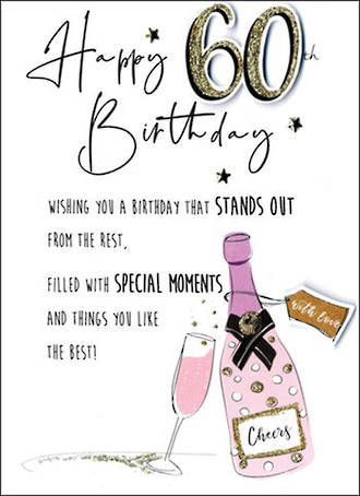 Birthday Age Card 60 Female Just To Say Bubbles