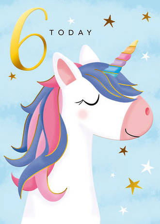 Birthday Age Card 6 Girl Rainbow Unicorn