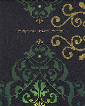 Birthday Card: Karma Green Gold