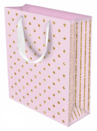 Large Gift Bag Glitter Dots Pink