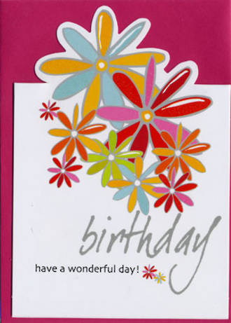Female Birthday Card: Sparklers Flowers