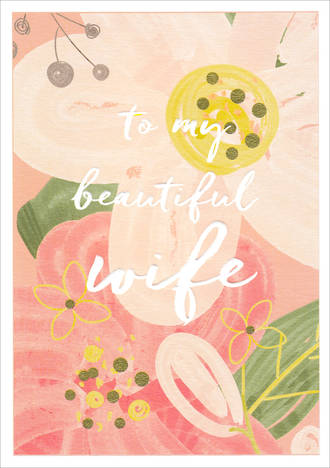 Wife Birthday Card Wish Pastel Flowers