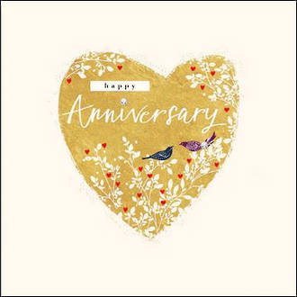 Anniversary Card Feathers & Ferns