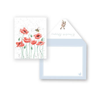 Mini Card Wrendale Poppies and Bee