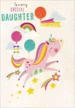 Daughter Birthday Card 100% Kids Large Unicorn