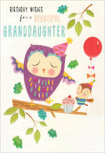 Grandaughter Birthday Card 100% Kids Large Owl