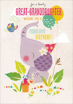 Great Grandaughter Birthday Card 100% Kids Large Elephant