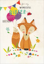 Sister Birthday Card 100% Kids Large Fox
