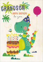 Grandson Birthday Card 100% Kids Dinosaur