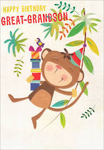 Grandson Birthday Card 100% Kids Monkey Greatgrandson