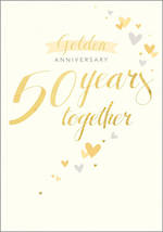 Anniversary Card 50th Gold Golden Hearts