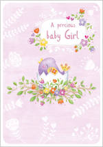 Baby Card Girl Pink Chick