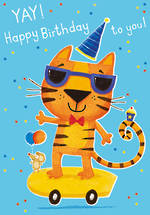 Kid's Birthday Card Boy Tiger