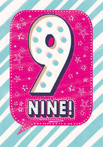 Birthday Age Card 9 Girl Speech Bubble