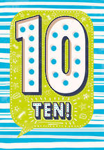 Birthday Age Card 10 Boy Speech Bubble