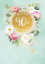 Birthday Age Card 90 Female Large Painted Flowers