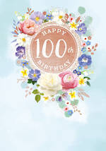 Birthday Age Card 100 Female Large Painted Flowers