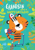 Grandson Birthday Card 100% Kids Large Tiger