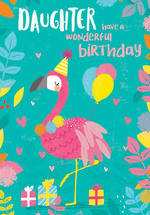 Daughter Birthday Card 100% Kids Large Flamingo