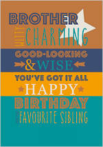 Brother Birthday Card Life & Soul Charming