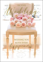 Wedding Card Pink Roses On Chair