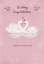 Wedding Card Porcelain Rose Swans