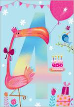 Birthday Age Card 4 Girl Flamingo